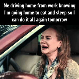 Work - Eat - Sleep.: Me driving home from work knowing  I'm going home to eat and sleep so l  can do it all again tomorrow Work - Eat - Sleep.