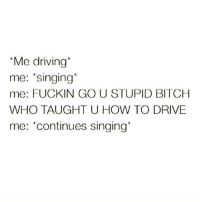 Stupidity: *Me driving  me: Singing  me: FUCKIN GO U STUPID BITCH  WHO TAUGHT U HOW TO DRIVE  me: continues singing