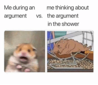 Shower, Argument, and Thinking: Me during an  argument vs.  me thinking about  the argument  in the shower