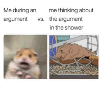 Shower, Pictures, and Argument: Me during an  argument vs.  me thinking about  the argument  in the shower Actual pictures of me