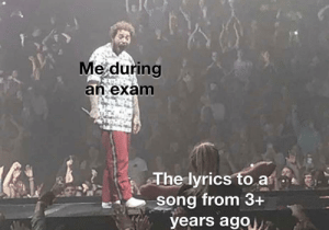 meirl: Me during  an exam  The lyrics to a  song from 3+  years ago7 meirl