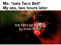 Two Hours Later: Me: *eats Taco Bell*  My ass, two hours later.  THE FIRES OF POMPEI  by James Moran