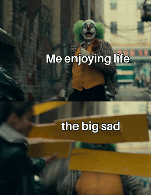 Oof ouch owie: Me enjoying life  the big sad Oof ouch owie