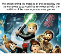 Lego Star Wars The Complete Saga: Me enlightening the masses of the possibility that  the complete saga could be re-released with the  addition of the new lego star wars games