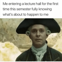 Time, Knowing, and First: Me entering a lecture hall for the first  time this semester fully knowing  what's about to happen to me Yep 😭