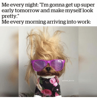 """Work, Tomorrow, and Super: Me every night: Tm gonna get up super  early tomorrow and make myself look  pretty.""""  Me every morning arriving into worK: Every day... 😂"""