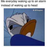 Head, Memes, and Tbt: Me everyday waking up to an alarm  instead of waking up to head  IG: @thegainz Tbt