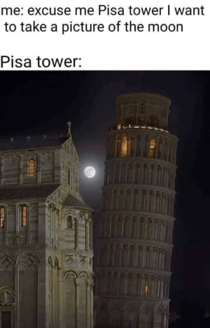 Thank you Pisa Tower: me: excuse me Pisa tower I want  to take a picture of the moon  Pisa tower: Thank you Pisa Tower
