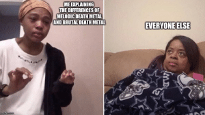 Reddit, Death, and Metal: ME EXPLAINING  THE DIFFERENCESOF  MELODIC DEATH METAL  AND BRUTAL DEATH METAL  EVERYONE ELSE  imgflip.com ACTUALLY it's just the subtle differences in the tone that....