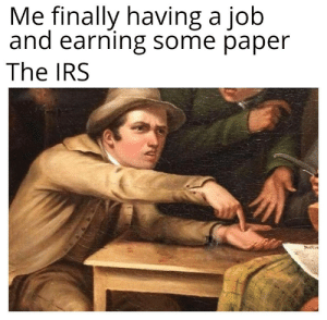 Fuck that imma go to Panama: Me finally having a job  and earning some paper  The IRS Fuck that imma go to Panama
