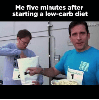 Memes, Run, and Diet: Me five minutes after  starting a low-carb diet  NBC  Run GIMME ALL THE CARBS