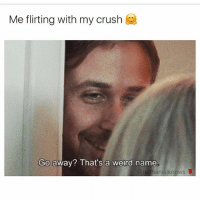 SAME!: Me flirting with my crush  Go away? That's a weird name  @nathanielknows SAME!