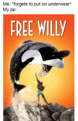 me🐋irl: Me: *forgets to put on underwear*  My pp:  FREE WILLY me🐋irl