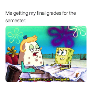For, Grades, and Final: Me getting my final grades for the  semester:  Youneed 600to pass. Yougot6 Entirely accurate 😂