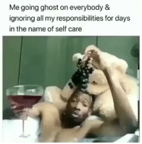 Memes, Mood, and Ghost: Me going ghost on everybody 8  ignoring all my responsibilities for days  in the name of self care Mood 😩