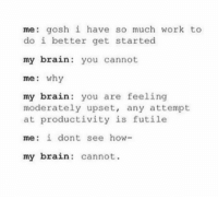 Tumblr, Work, and Brain: me: gosh i have so much work to  do i better get started  my brain: you cannot  me: why  my brain you are feeling  my brain: you are feeling  moderately upset, any attempt  at productivity is futile  me: i dont see how-  my brain: cannot hey !!!