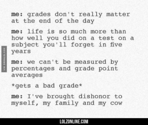 If you are a student Follow @studentlifeproblems​: me: grades don't really matter  at the end of the day  me: life is so much more than  how well you did on a test on a  subject you'll forget in five  years  me: we can't be measured by  percentages and grade point  averages  *gets a bad grade*  me: I've brought dishonor to  myself, my family and my cow  LOLZONLINE.COM If you are a student Follow @studentlifeproblems​