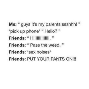 """Every single time. by BlackEyedBroad FOLLOW HERE 4 MORE MEMES.: Me: """"guys it's my parents ssshhh! """"  """"pick up phone """"Hello?  Friends: """"HIlll  Friends: """"Pass the weed.  Friends: """"sex noises*  Friends: PUT YOUR PANTS ON!!! Every single time. by BlackEyedBroad FOLLOW HERE 4 MORE MEMES."""