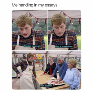 Breakdown, Making, and Accurate: Me handing in my essays  Started making it.  Had a breakdown.  2C  Bon appetite. Accurate 😂