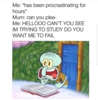 Do You Want Me: Me: *has been procrastinating for  hours*  Mum: can you plea-  Me: HELLOOO CAN'T YOU SEE  IM TRYING TO STUDY DO YOU  WANT ME TO FAIL