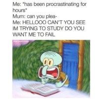 Fail, Been, and Can: Me: *has been procrastinating for  hours  Mum: can you plea-  Me: HELLOOO CAN'T YOU SEE  IM TRYING TO STUDY DO YOU  WANT ME TO FAIL