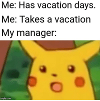 Time, Vacation, and Com: Me: Has vacation days.  Me: Takes a vacation  My manager.  imgflip.com Every. Damn. Time.