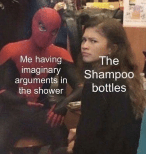 Shower, Shampoo, and Just: Me having  imaginary  The  Shampoo  arguments in  the shower  bottles Just me