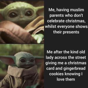 I thought this would apply here! We have a grandma on my street and she gave me cookies and a cute card knowing my family don't celebrate Christmas because she didn't want me to feel left out c,:: Me, having muslim  parents who don't  celebrate christmas,  whilst everyone shows  their presents  Me after the kind old  lady across the street  giving me a christmas  card and gingerbread  cookies knowing I  love them I thought this would apply here! We have a grandma on my street and she gave me cookies and a cute card knowing my family don't celebrate Christmas because she didn't want me to feel left out c,: