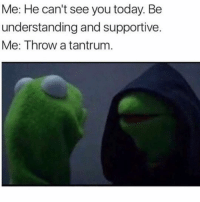 Today, Girl Memes, and Understanding: Me: He can't see you today. Be  understanding and supportive  Me: Throw a tantrum I should be your number one priority!
