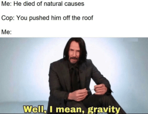 There goes gravity: Me: He died of natural causes  Cop: You pushed him off the roof  Mе:  Well,I mean, gravity There goes gravity