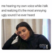 Ugly, Voice, and Girl Memes: me hearing my own voice while i talk  and realizing it's the most annoying  ugly sound i've ever heard  #RICHKIDS OF  EVERLY HILLS  BRAND NEW  NEXT ■ Literally grating to my ears.