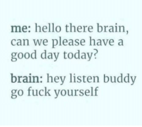 """Hello, Memes, and Brain: me: hello there brain,  can we please have a  good day today?  brain: hey listen buddv  go fuck yourself <p>&ldquo;Hey listen buddy&hellip;&rdquo; via /r/memes <a href=""""http://ift.tt/2tGm6y4"""">http://ift.tt/2tGm6y4</a></p>"""