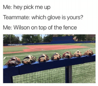Baseball, Memes, and 🤖: Me: hey pick me up  Teammate: which glove is yours?  Me: Wilson on top of the fence uuhhh... . . . baseball Ballplayer PickUp Teammate Middle Transition Inning Wilson Glove Helping Hand Problems