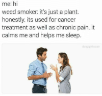 Weed, Cancer, and Helps: me: hi  weed smoker: it's just a plant.  honestly. its used for cancer  treatment as well as chronic pain. it  calms me and helps me sleep.  douggiehouse