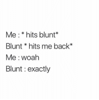 Memes, Back, and 🤖: Me: * hits blunt*  Blunt * hits me back*  Me woah  Blunt : exactly