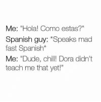 """Chill, Dude, and Memes: Me: """"Hola! Como estas?""""  Spanish guy: *Speaks mad  fast Spanish*  Me: """"Dude, chill! Dora didn't  teach me that yet!"""""""