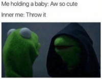 Me holding a baby: Aw so cute  Inner me: Throw it memes 👌👌👌