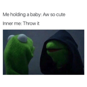 Cute, Dank, and Memes: Me holding a baby: Aw so cute  Inner me: Throw it Every time by jakeythesnake044 MORE MEMES