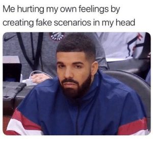 Fake, Head, and Irl: Me hurting my own feelings by  creating fake scenarios in my head Me irl