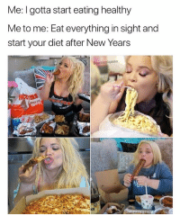 Memes, Giant, and Diet: Me: I gotta start eating healthy  Me to me: Eat everything in sight and  start your diet after New Years  epablopigasso  VA is that a giant churro in the 4th pic?