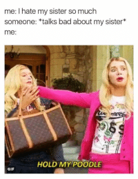 sister: me: I hate my sister so much  someone: talks bad about my sister  me:  HOLD MY POODLE  GIF