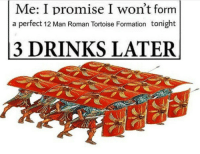 Formation, Roman, and Tortoise: Me: I promise I won't form  a perfect 12 Man Roman Tortoise Formation tonight  3 DRINKS LATER