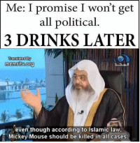 political memes: Me: I promise I won't get  all political  3 DRINKS LATER  Translated By  memritwoorg  even though according to Islamic law,  Mickey Mouse should be killed in all cases.