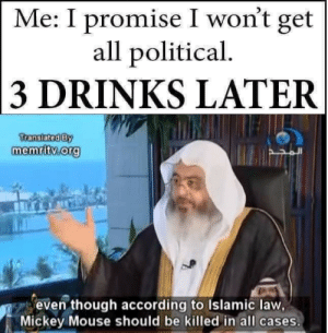 Promise I Wont Get All: Me: I promise I won't get  all political  3 DRINKS LATER  ranslatediBY  memritv org  even though according to Islamic law,  Mickey Mouse should be killed in all cases.