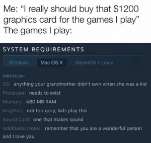 "I don't think I'll be able to run it https://t.co/7907h9UmWx: Me: ""I really should buy that $1200  graphics card for the games I play""  The games play:  SYSTEM REQUIREMENTS  SteamOS Linux  Windows  Mac OS X  MINIMUM:  OS: anything your grandmother didn't own when she was a kid  Processor: needs to exist  Memory: 480 MB RAM  Graphics: not too gory, kids play this  Sound Card: one that makes sound  Additional Notes: remember that you are a wonderful person  and I love you I don't think I'll be able to run it https://t.co/7907h9UmWx"