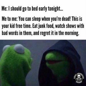 Via: The Real American Dadass: Me: I should go to bed early tonight..  Me to me: You can sleep when you're dead! This is  your kid free time. Eat junk food, watch shows with  bad words in them, and regret it in the morning.  AMA  DADASS  BRICAN Via: The Real American Dadass