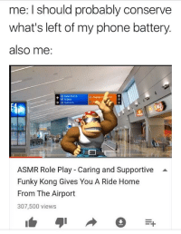 Meirl: me: I should probably conserve  what's left of my phone battery  also me  Gates ES-E1S  B D Gates  ET  ASMR Role Play - Caring and Supportive  Funky Kong Gives You A Ride Home  From The Airport  307,500 views Meirl