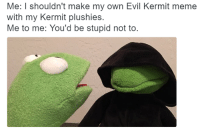 ME IRL: Me: I shouldn't make my own Evil Kermit meme  with my Kermit plushies.  Me to me: You'd be stupid not to ME IRL