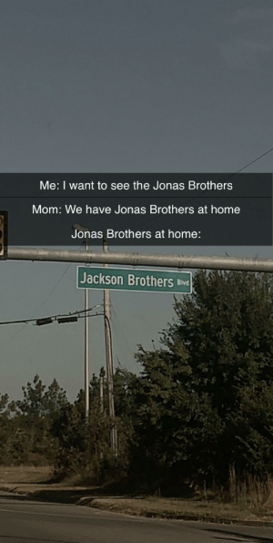 Jackson brothers: Me: I want to see the Jonas Brothers  Mom: We have Jonas Brothers at home  Jonas Brothers at home:  Jackson Brothers Blvd Jackson brothers