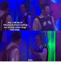 {2x18} Han Solo😎🙌🏻 -- Scene requested by @avasquadoo himym howimetyourmother sitcom barneystinson neilpatrickharris tedmosby joshradnor: Me, I will be at  the snack shack eating  our victory onion rings,  Han style  Solo.  howimetyOU  dos he  anpage  insidaram {2x18} Han Solo😎🙌🏻 -- Scene requested by @avasquadoo himym howimetyourmother sitcom barneystinson neilpatrickharris tedmosby joshradnor